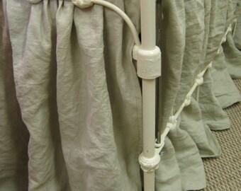Washed Linen Storybook Style Crib Skirt and Crib Sheet