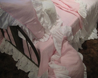 Ruffled Washed Linen Bedding-Hyacinth and White Handkerchief Linen-Twin Bedding