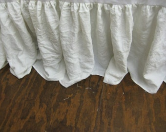 """King Bed Skirt in Washed Linen-18"""" Drop Length--Bed Skirt Photographed in Vintage White-Other Colors Available-Other Sizes Available"""