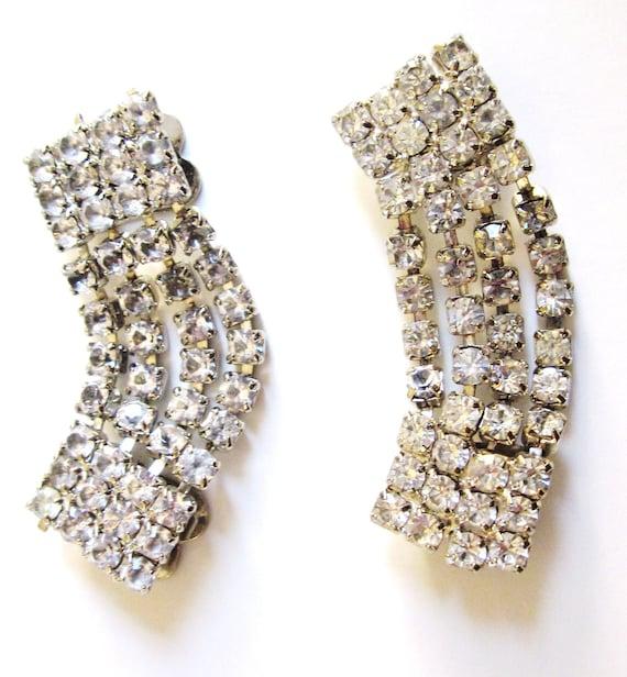 Vintage-1950s-Sparkles Shoe Clips-Rhinestones-Rhinestone Shoe Clips-Formal Shoe Clips-Shoe Clips
