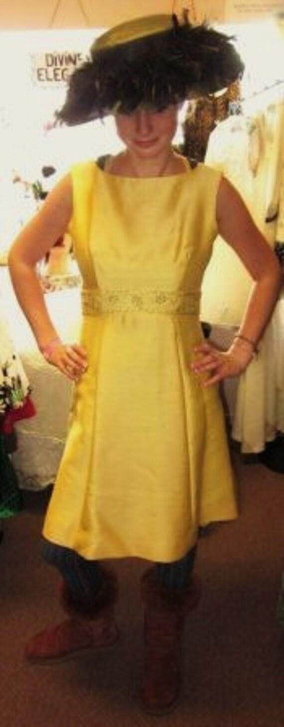 Vintage-60s-Joseph Magnin-Sleeveless-Yellow Dress-A Line Dress--S-10