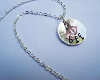 BFF Hand Stamped Sterling Silver Necklace with Swarovski Crystal