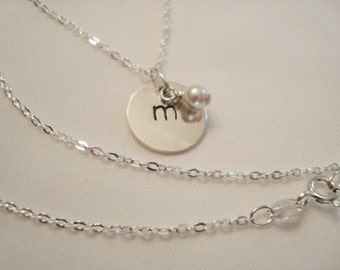Initial Sterling Silver Stamped Necklace with pearl or crystal