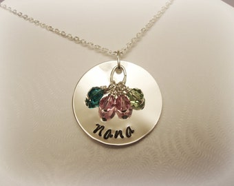 Grandma Nana Oma Nonna Stamped Sterling Silver Necklace with 4 Birthstone Crystals