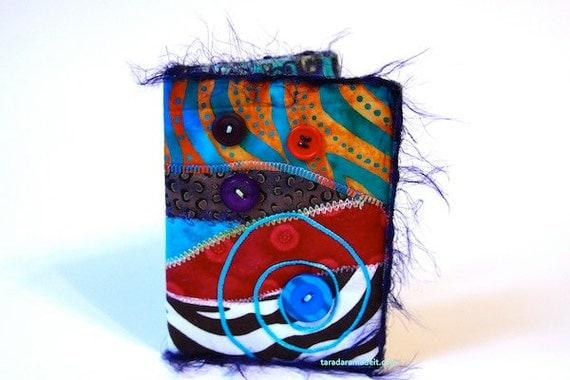 Handmade Passport Cover for her- Animal print, teal, orange, batiks