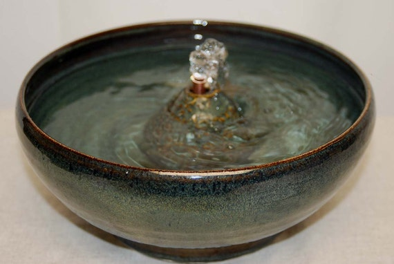 "Ceramic Cat Fountain, Handmade, Foodsafe - ""Forest Floor"" - 10 Inch Diameter"