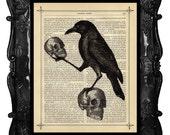 Raven Crow with Skulls - HALLOWEEN Skulls Art Print on antique book Page Crow Raven Art Print