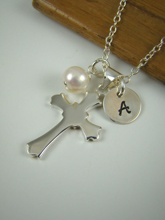 Cross Charm Necklace, Confirmation Gift, Communion Gift, Faith, Sterling Silver, Cross Pendant IN013