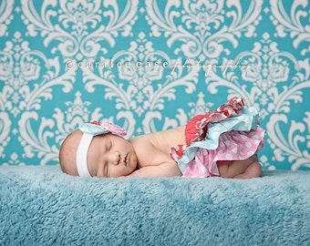 Red aqua pink and white polka dot ruffle bloomers diaper cover newborn baby infant toddler girl