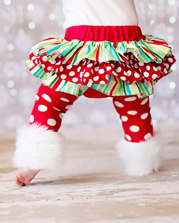 Christmas red green and white striped and polka dot bloomers diaper cover for baby newborn infant toddler girl