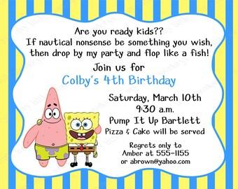 10 Spongebob Birthday Invitations with Envelopes.  Free Return Address Labels