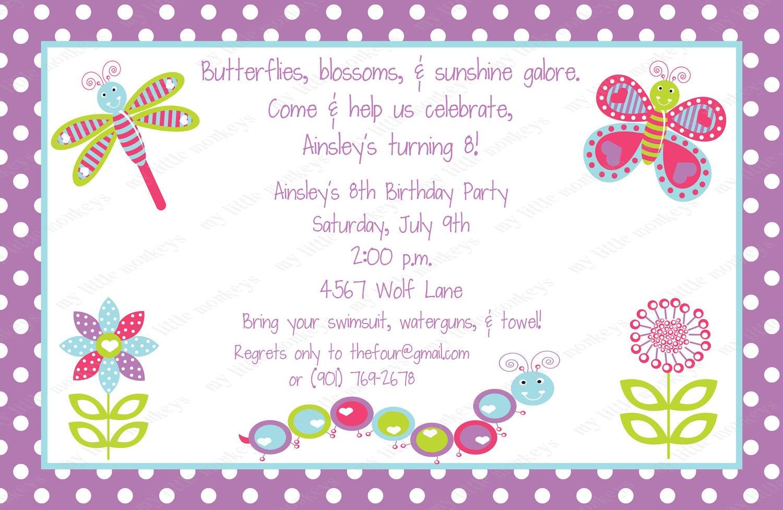Pretty Bugs Birthday Invitations With Envelopes Free - Birthday invitation cards 10 years
