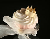 12 Wafer Crowns in GOLD, SILVER or PEARL wafer paper, nontoxic glitter