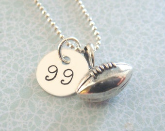 Football  Necklace -  Hand Stamped Jewelry - Sterling Silver