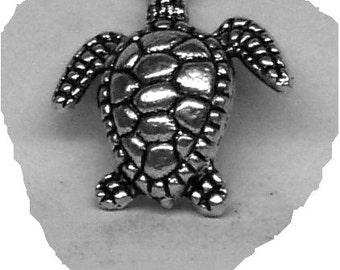 SEA TURTLE Stud Mans Earring Sterling Silver Free Shipping