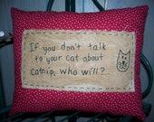 Primitive Stitchery Cat and Catnip Pillow