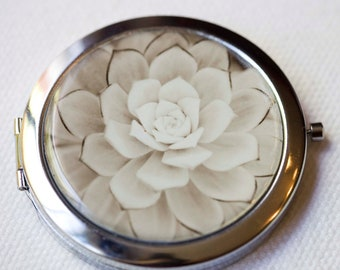 Pocket Mirror Compact Style  Large SIlver  with photograph of succulent