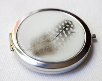 Pocket Mirror Compact Style  Large SIlver  with photograph of a black and white feather