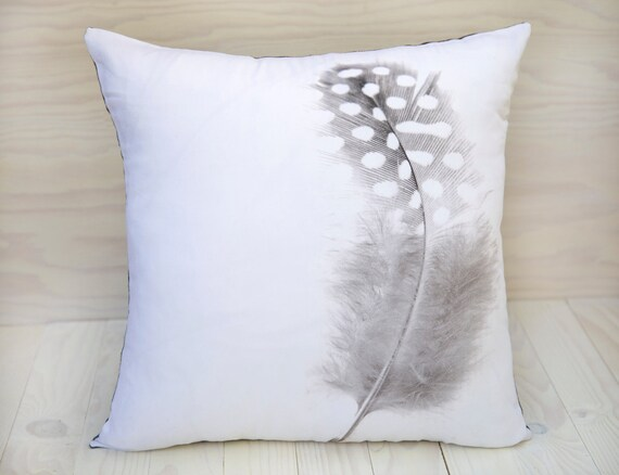 Decorative Pillows Feather : Feather throw pillow handmade decorative home decor black