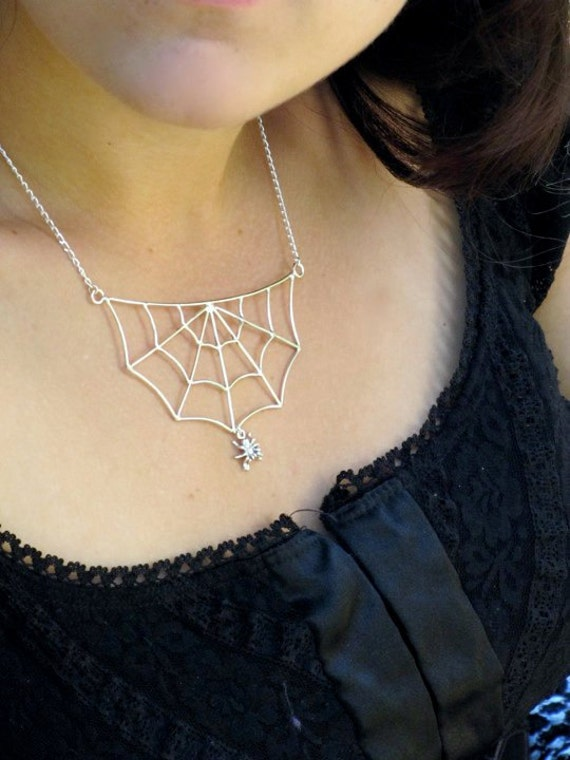 Itsy Bitsy Spider's Web - Sterling silver spider web necklace w/ sterling spider charm - Made to order