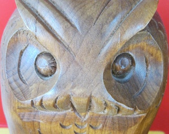Large Handcarved Vintage Canadian Horned Owl