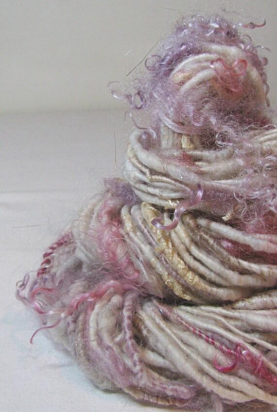 RESERVED for Metalgirl Handspun Art Yarn Corespun Sheeping Beauties 'Tea Rose'