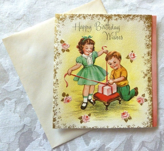 Vintage Happy Birthday Wishes - Colorful Children's Card with Bible Verse - Mint Condition , 195O's, Unused  ( Includes Original Envelope)