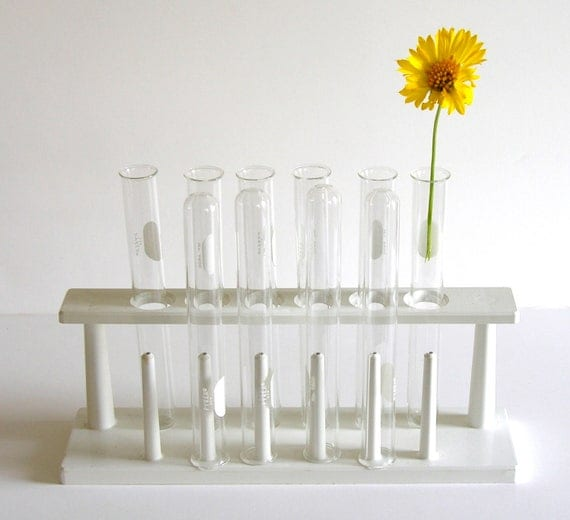 Vintage White Plastic Test Tube Rack Holder, Laboratory Supplies