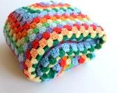 Vintage Bright Rainbow Crochet Afgan