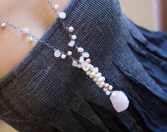 Rose Quartz Necklace, Pearl Necklace - freshwater pearl long beaded necklace, tassel necklace - Raindrops - Bohemian Wedding