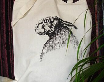 Screen Printed Hare 100% Natural Cotton Tote Bag
