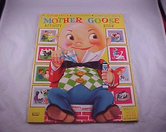 1955 Mother Goose Activity Book Cut and Stick Coloring Connect The Dots