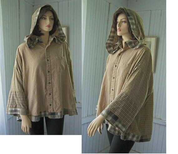 Upcycled Hoodie Shirt Jacket  Reconstructed Patchwork from Mens Shirts You Choose Color Plus Size