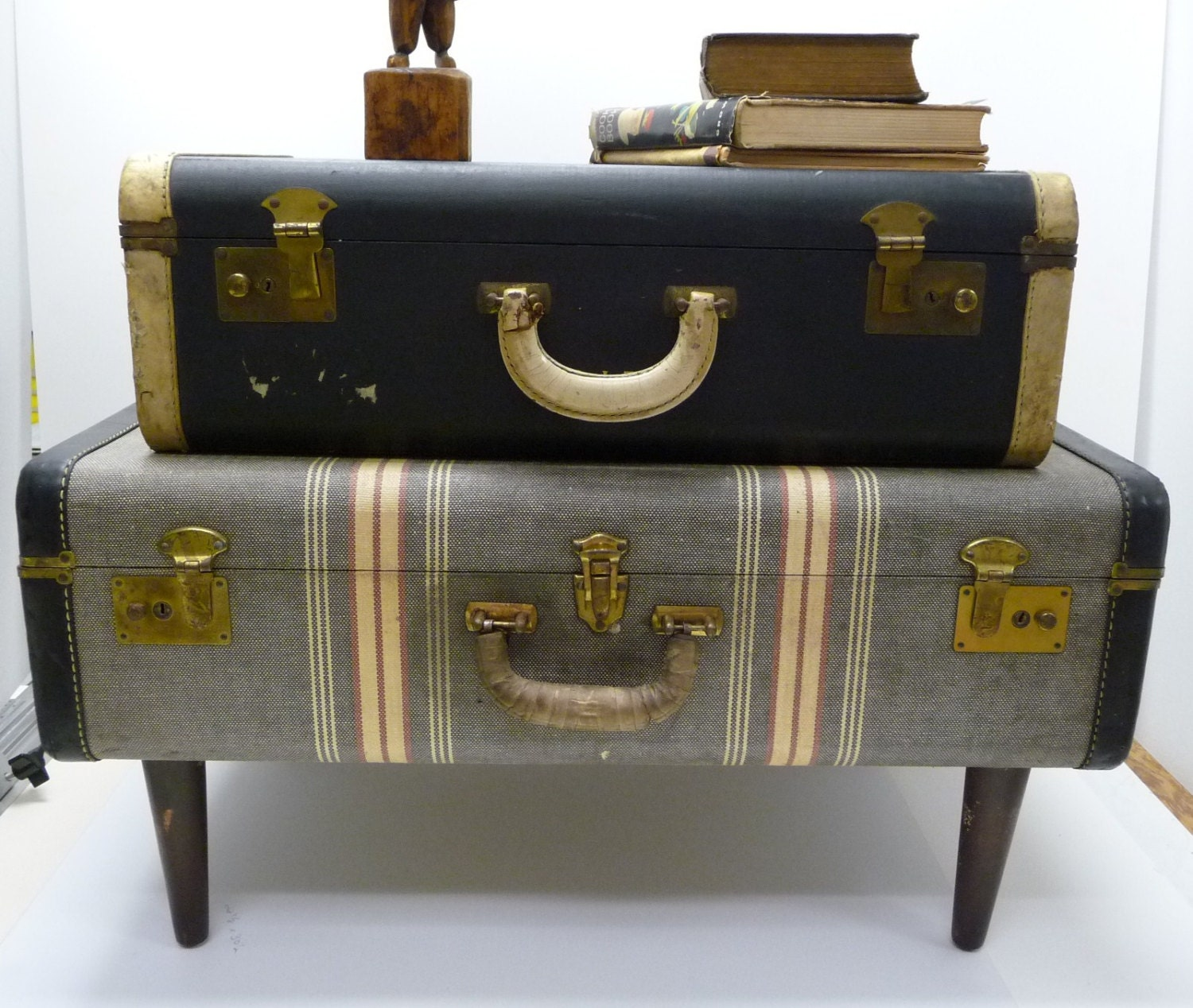 Vintage Suitcase Table Re Purposed Upcycled Luggage Night