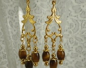 Tiger Eye Earrings Dangle Filigree Caps Gold Drops Brown Chandelier
