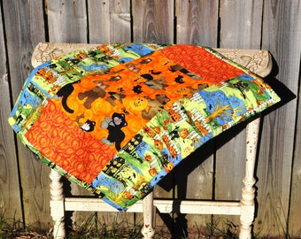 Halloween Quilted Table Runner haunted house, cats, pumpkins