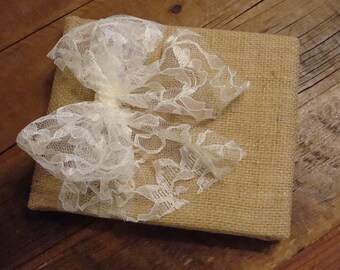 Rustic Burlap Wedding Guest Book. Accent with lace to match your ceremony.