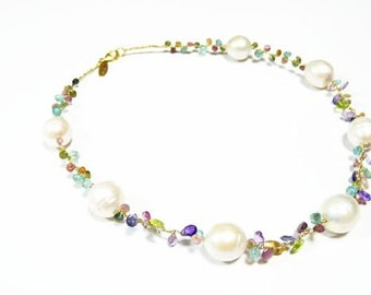 1pcs(tnl0001) -  necklace with pearl,peridot,iolite,amethyst,appetite and silver