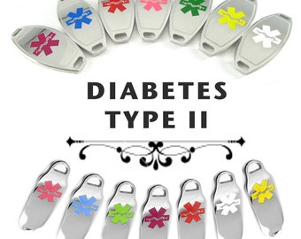 DIABETES TYPE II Medical Id plate Pre-Engraved, for Stylish Beaded Bracelets