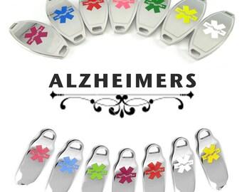 ALZHEIMERS Medical ID plate Pre-Engraved, for Stylish Medical Alert Beaded Bracelets