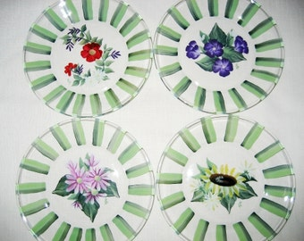 Salad Appetizer Plates Hand Painted Flower Designs Reverse Painted - Set of 4