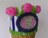 Birthday  Crown Birthday Hat Navy,pink and lime 5th Birthday  or customize with any number or banner Adult or Child
