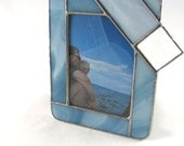 Steel Blue Denim Hand Crafted Stained Glass Table Top Picture Frame