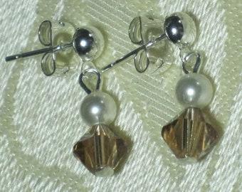Flower Girl Little Girl Earrings Dangle Pearl Crystal Swarovski White Pearl Mocha Topaz Light Brown Crystal Dangle Post Silver Earrings B069