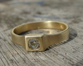 Engagement Ring - Gold and Diamond Engagement Ring - 18k Gold Ring - Diamond Ring -  Gold Engagement Ring