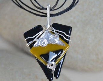 Hand-crafted, silver wire-wrapped glass pendant