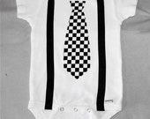Baby Kids Easter Outfit Tie Shirt Onesie Skater Dude Punk Rocker EMO Suspenders Newborn 0-3, 3-6, 6, 12 18 24 Months