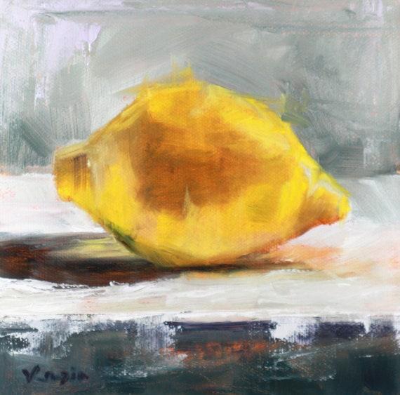 Kitchen Art 24cm: Original Art Oil Painting Still Life Yellow Lemon Canvas Art