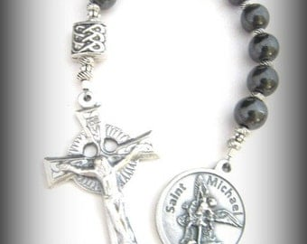 Irish Chaplet with St. Michael Medal and Celtic Crucifix