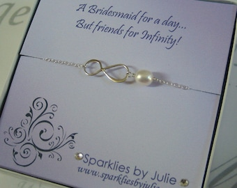 Friends for Infinity, Fancy Bridesmaids Invitation with Silver Infinity bracelet, Thank You Gift, Bridesmaid, Maid of Honor, Flower Girl
